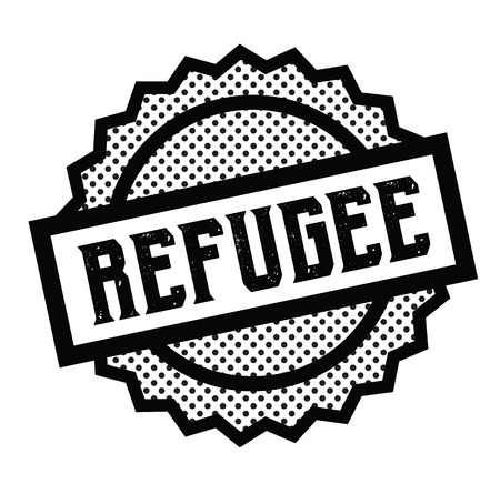 refugee stamp on white Çizim
