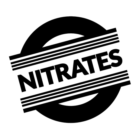 nitrates stamp on white background . Sign, label sticker