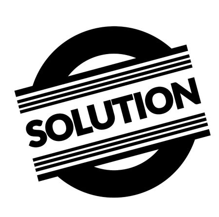 solution stamp on white background . Sign, label sticker
