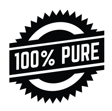 100 percent pure stamp on white background . Sign, label, sticker  イラスト・ベクター素材
