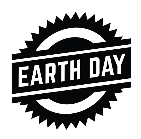 earth day stamp on white background . Sign, label, sticker Çizim