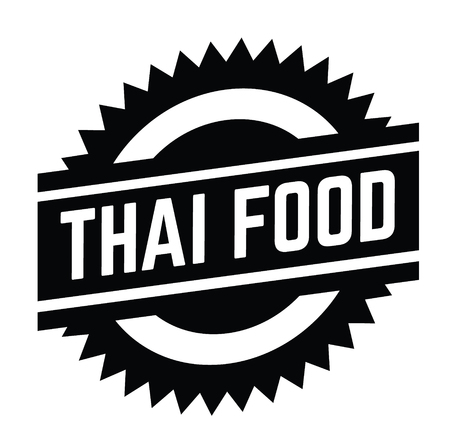 thai food stamp on white background . Sign, label, sticker