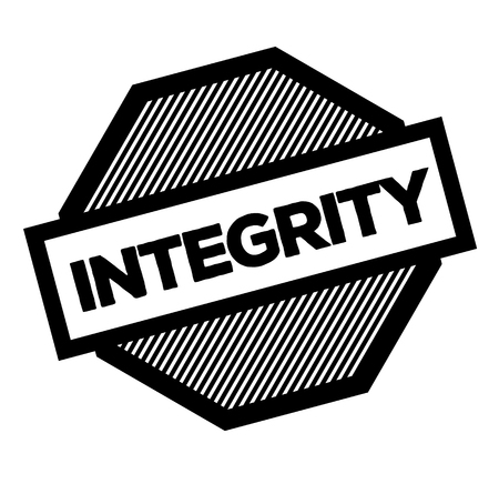 integrity black stamp on white background. Sign, label, sticker Vectores
