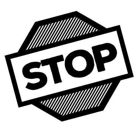 stop black stamp on white background. Sign, label, sticker  イラスト・ベクター素材