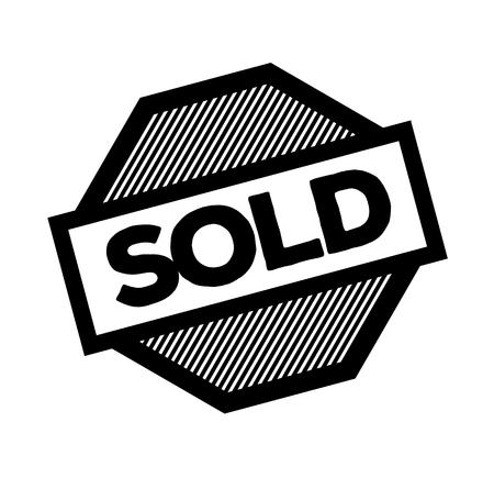 sold black stamp on white background. Sign, label, sticker