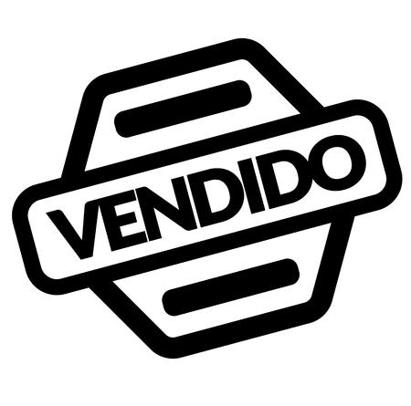 sold black stamp in spanish language. Sign, label, sticker