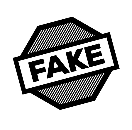 fake black stamp on white background. Sign, label, sticker Illustration