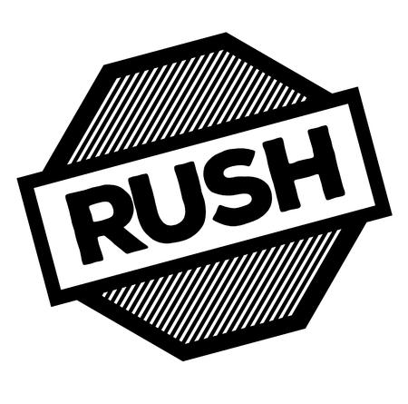 rush black stamp on white background. Sign, label, sticker