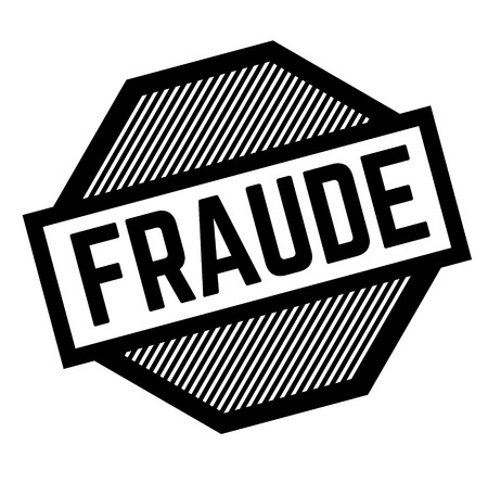 fraud black stamp in spanish language. Sign, label, sticker Vetores