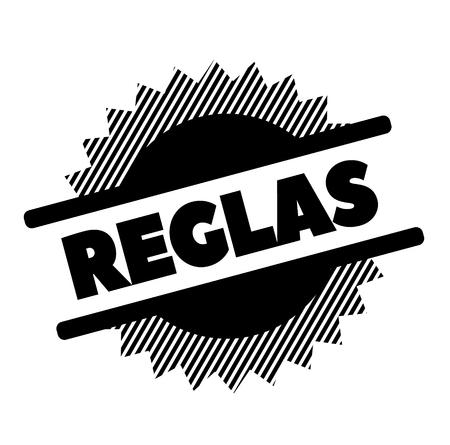 Regeln schwarzer Stempel in spanischer Sprache. Schild, Etikett, Aufkleber