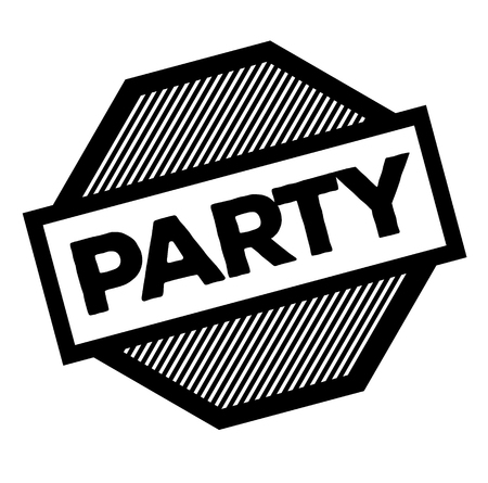 party black stamp on white background. Sign, label, sticker