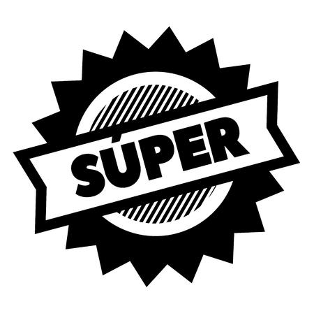 super black stamp in spanish language. Sign, label, sticker