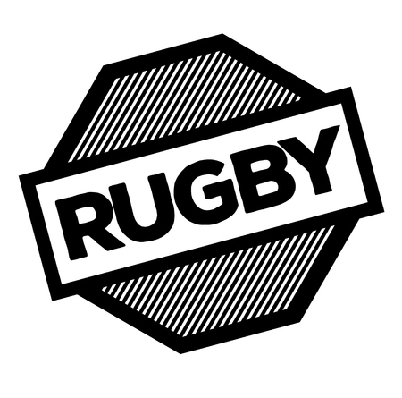 rugby black stamp on white background. Sign, label, sticker