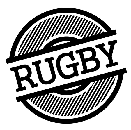 rugby black stamp in spanish language. Sign, label, sticker