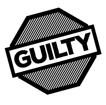 guilty black stamp on white background. Sign, label, sticker 写真素材 - 111758098