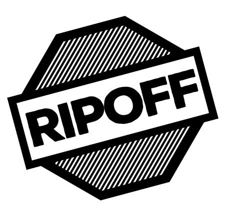 Abzocke schwarzer Stempel auf weißem Hintergrund. Schild, Etikett, Aufkleber
