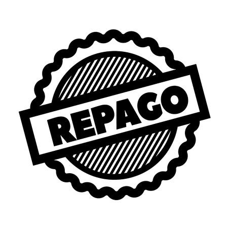 repaid black stamp in spanish language. Sign, label, sticker Ilustração