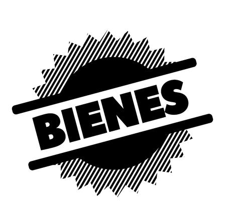 goods black stamp in spanish language. Sign, label, sticker