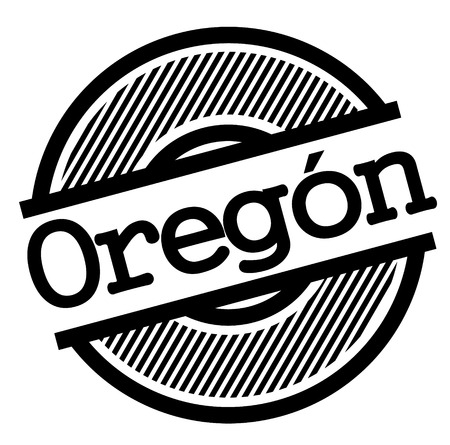 oregon black stamp in spanish language. Sign, label, sticker