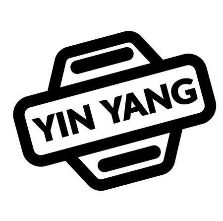 ying yang black stamp in spanish language. Sign, label, sticker
