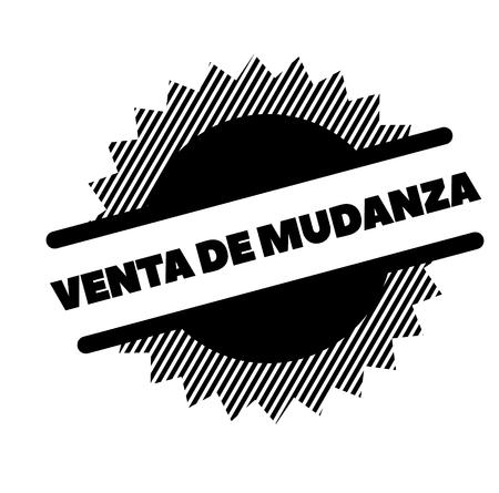 moving sale black stamp in spanish language. Sign, label, sticker