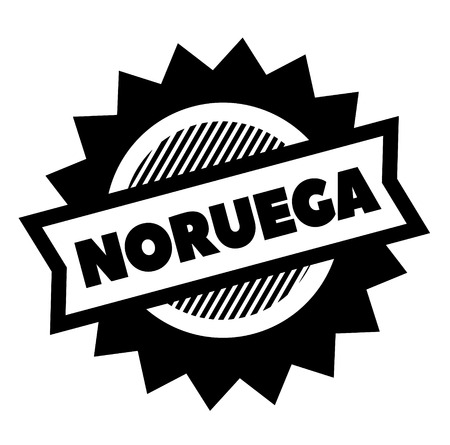 norway black stamp in spanish language. Sign, label, sticker Illustration