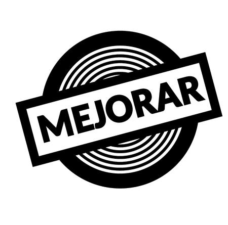 improve black stamp in spanish language. Sign, label, sticker Ilustração