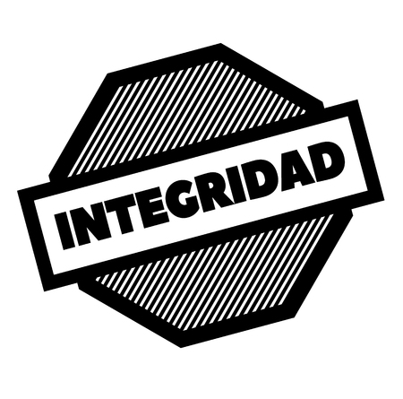 integrity black stamp in spanish language. Sign, label, sticker Çizim