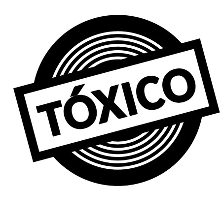 toxic black stamp in spanish language. Sign, label, sticker  イラスト・ベクター素材