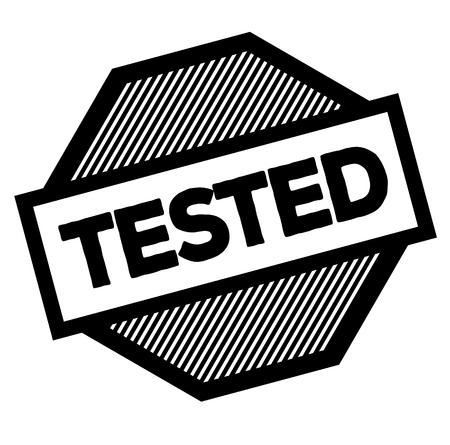 tested black stamp on white background. Sign, label, sticker