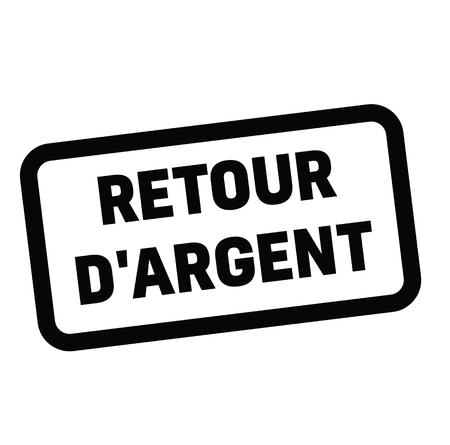 money back black stamp in french language. Sign, label, sticker