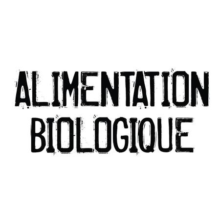 organic food black stamp in french language. Sign, label, sticker