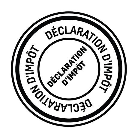 tax return black stamp in french language. Sign, label, sticker Illustration
