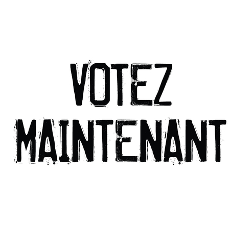 vote now black stamp in french language. Sign, label, sticker