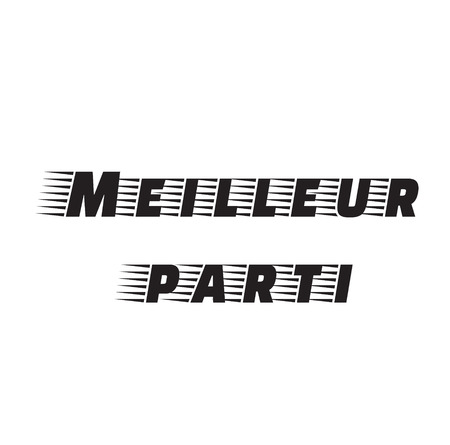 best party black stamp in french language. Sign, label, sticker