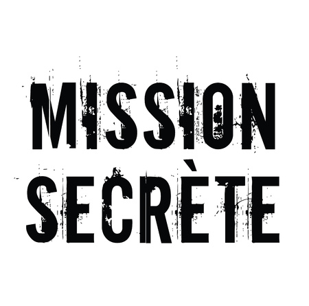 secret mission stamp in french Illustration