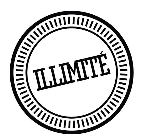 unlimited black stamp in french language. Sign, label, sticker Иллюстрация
