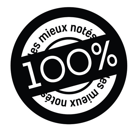 top rated black stamp in french language. Sign, label, sticker Illustration