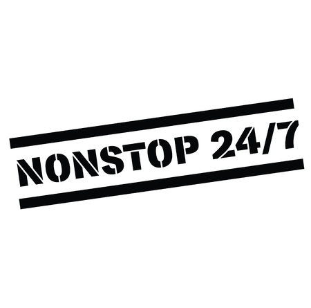 nonstop 24 by 7 black stamp in german language. Sign, label, sticker