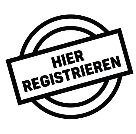 register here black stamp in german language. Sign, label, sticker Ilustração