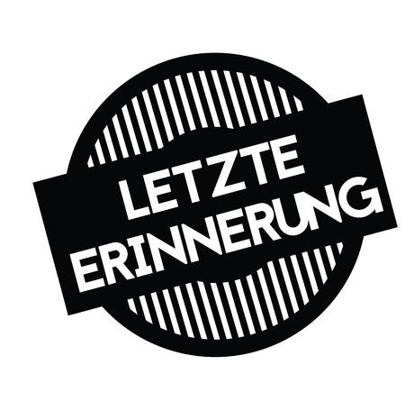 promemoria finale timbro nero in lingua tedesca. Segno, etichetta, adesivo Vettoriali