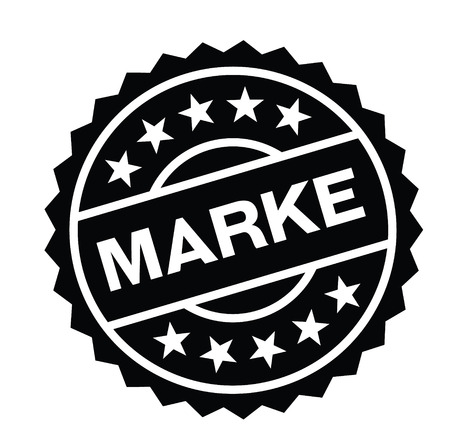 brand black stamp in german language. Sign, label, sticker