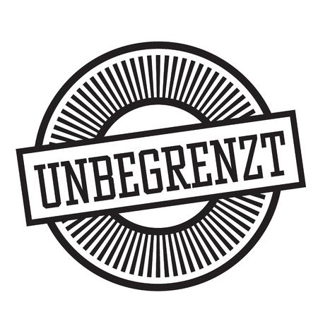 unlimited black stamp in german language. Sign, label, sticker Иллюстрация