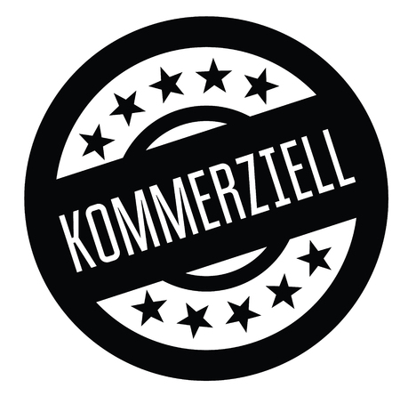 commercial black stamp in german language. Sign, label, sticker