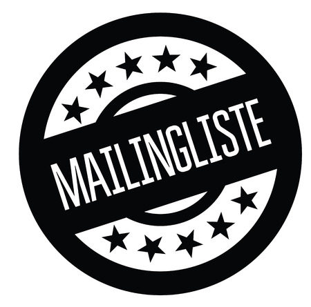 mailing list black stamp in german language. Sign, label, sticker Vettoriali