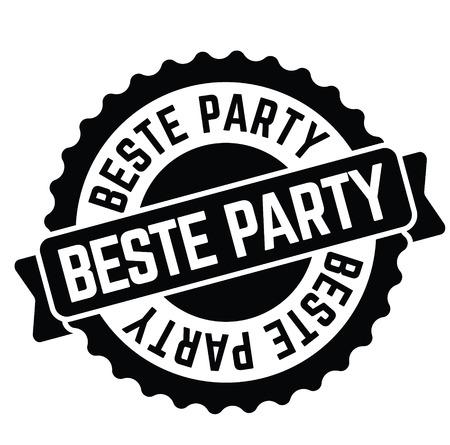best party black stamp in german language. Sign, label, sticker