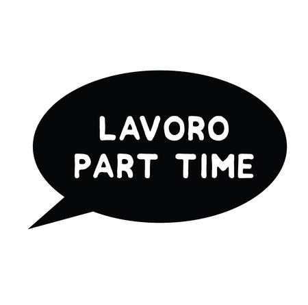 part time job black stamp in italian language. Sign, label, sticker.