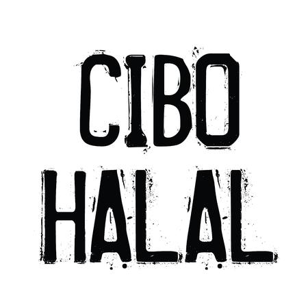 halal food black stamp in italian language. Sign, label, sticker