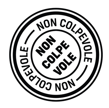 not guilty black stamp in italian language. Sign, label, sticker