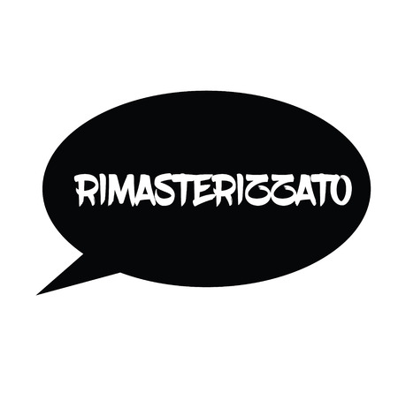 remastered black stamp in italian language. Sign, label, sticker Stock fotó - 110475507